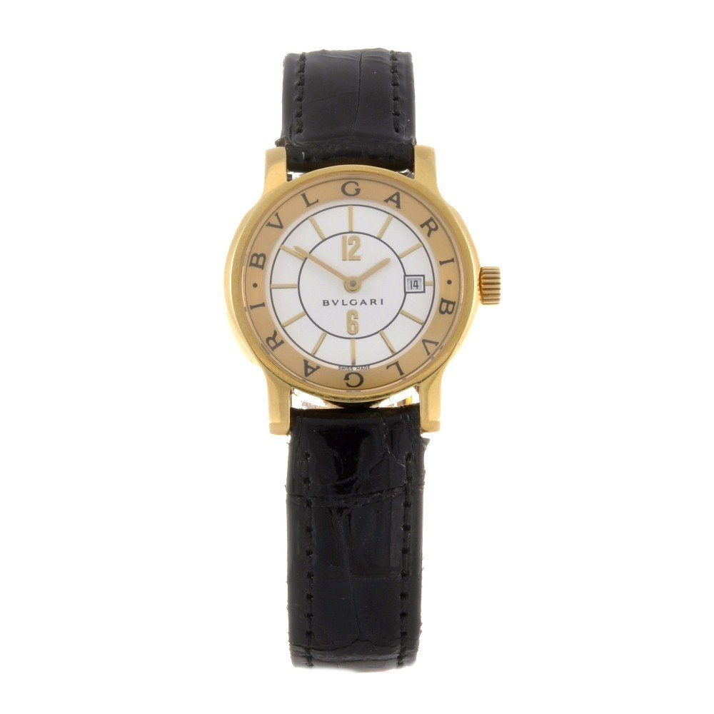 18: BULGARI - an 18k gold quartz lady's Solotempo wrist