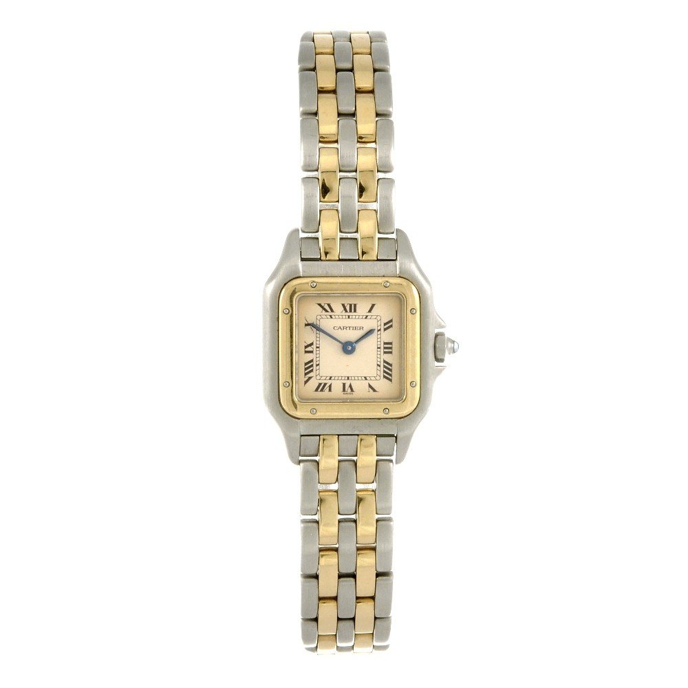 23: CARTIER - a bi-metal quartz lady's Panthere bracele