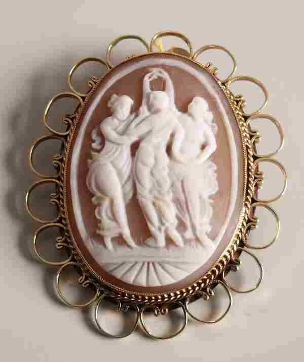 9ct gold oval shell cameo brooch depicting three c