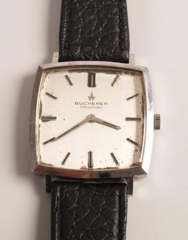 3008:  BUCHERER - a gentleman's steel watch with a squa