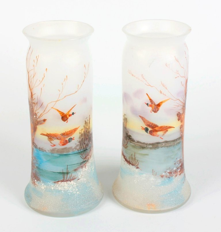 5: A pair of Daum Nancy-style glass vases