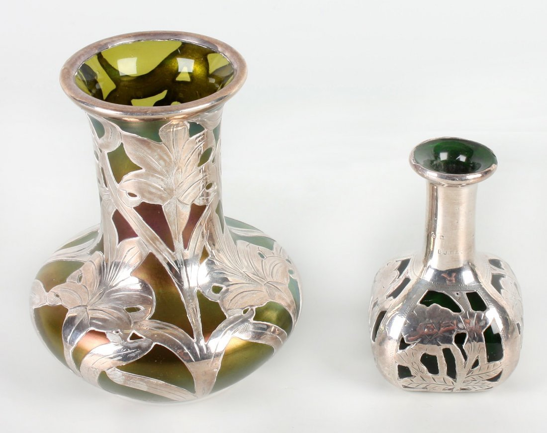 15: Two Loetz-style silver overlay and iridescent glass