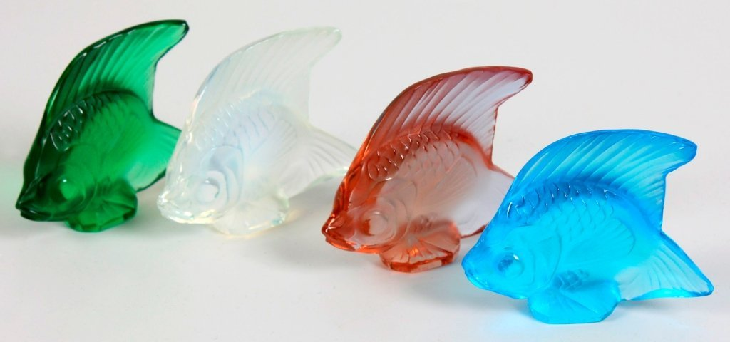 16: Four Lalique crystal fish