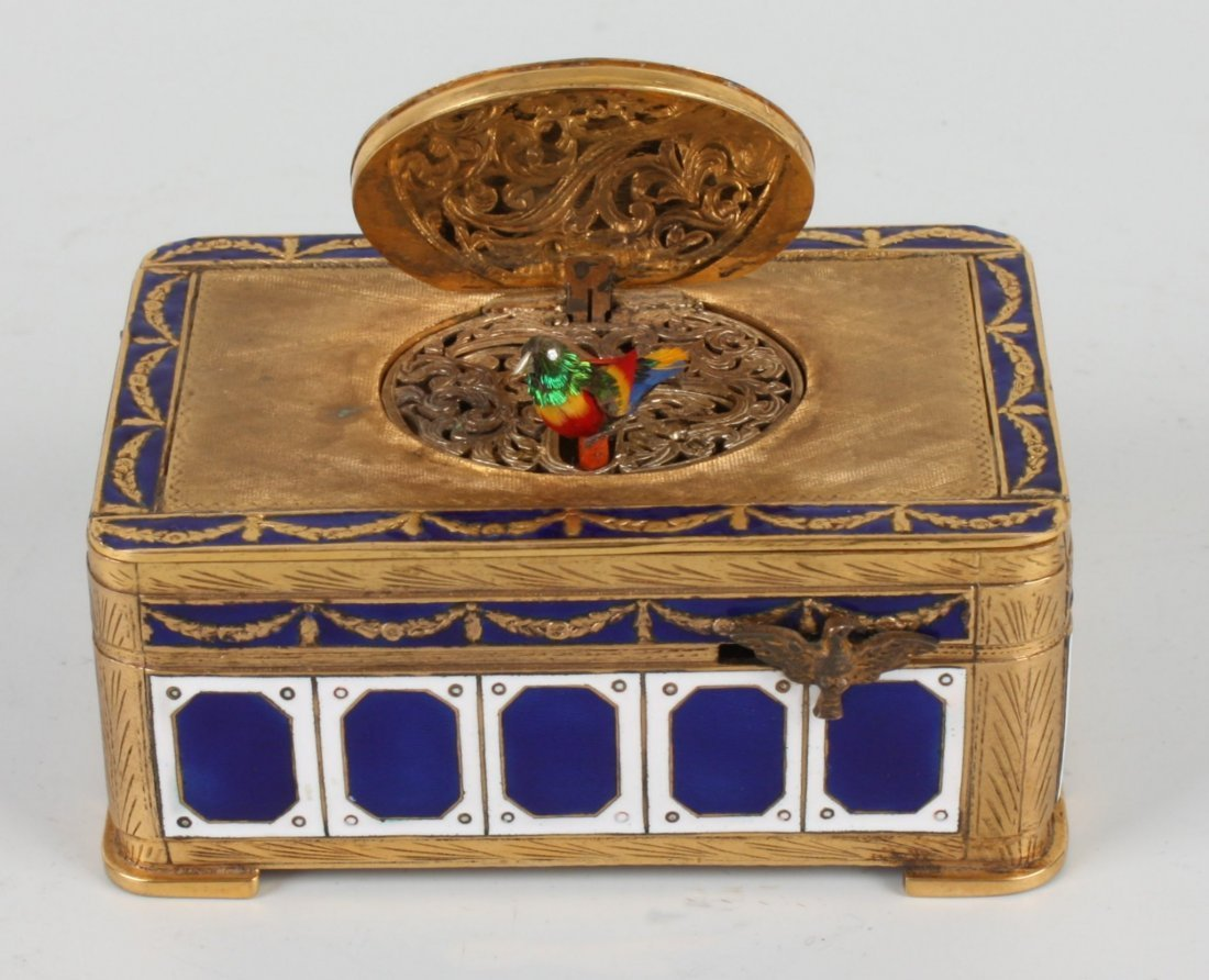 286: A good 20th century gilt brass and enamel singing  - 3
