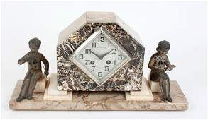 714: An Art Deco marble mantle clock