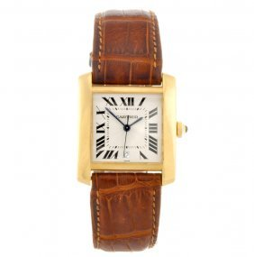 An 18k Gold Automatic Gentleman's Cartier Tank Fran