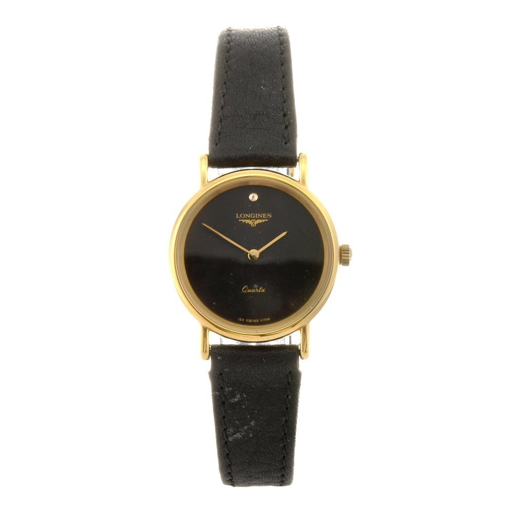 31: A gold plated quartz lady's Longines wrist watch.