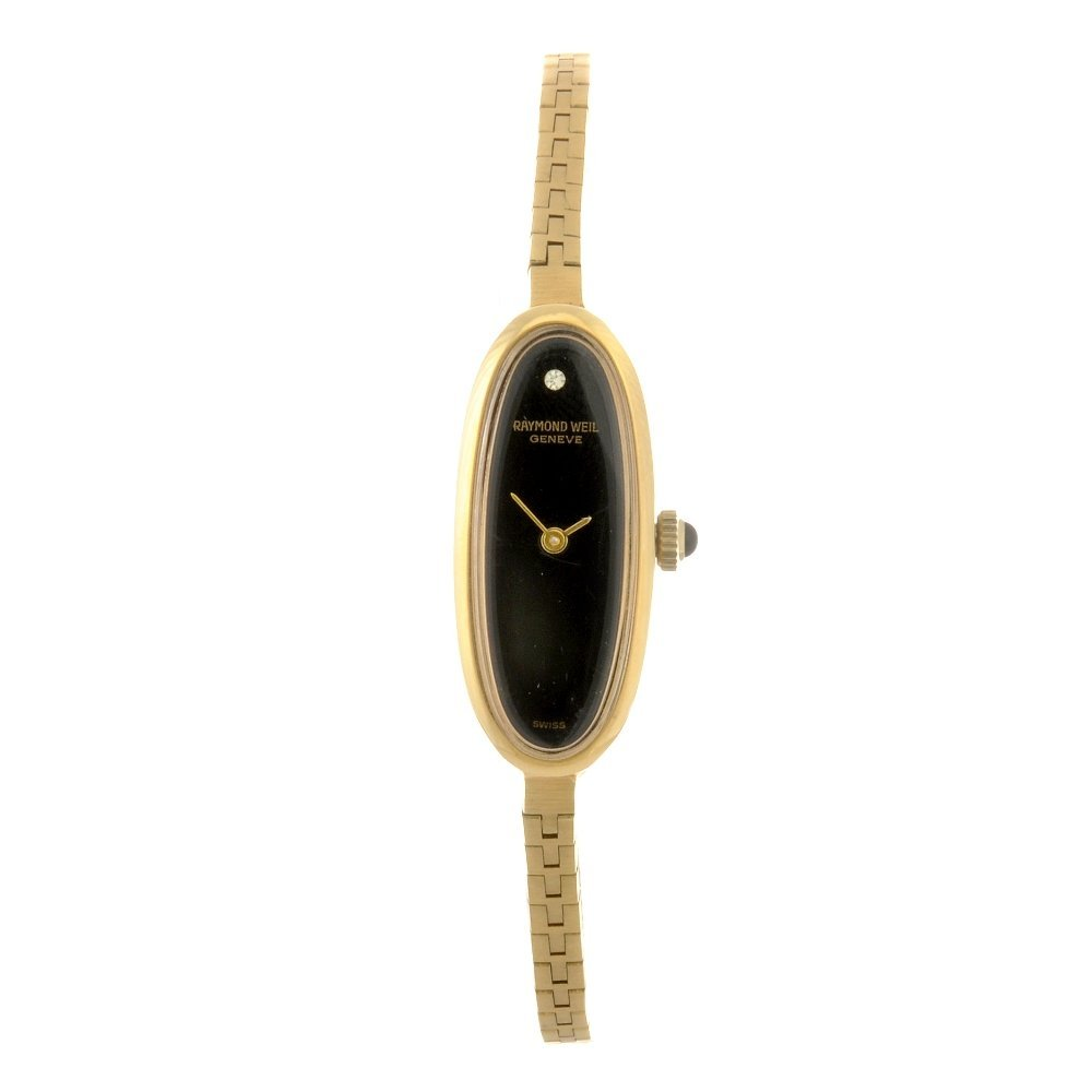 74: A gold plated quartz lady's Raymond Weil bracelet w