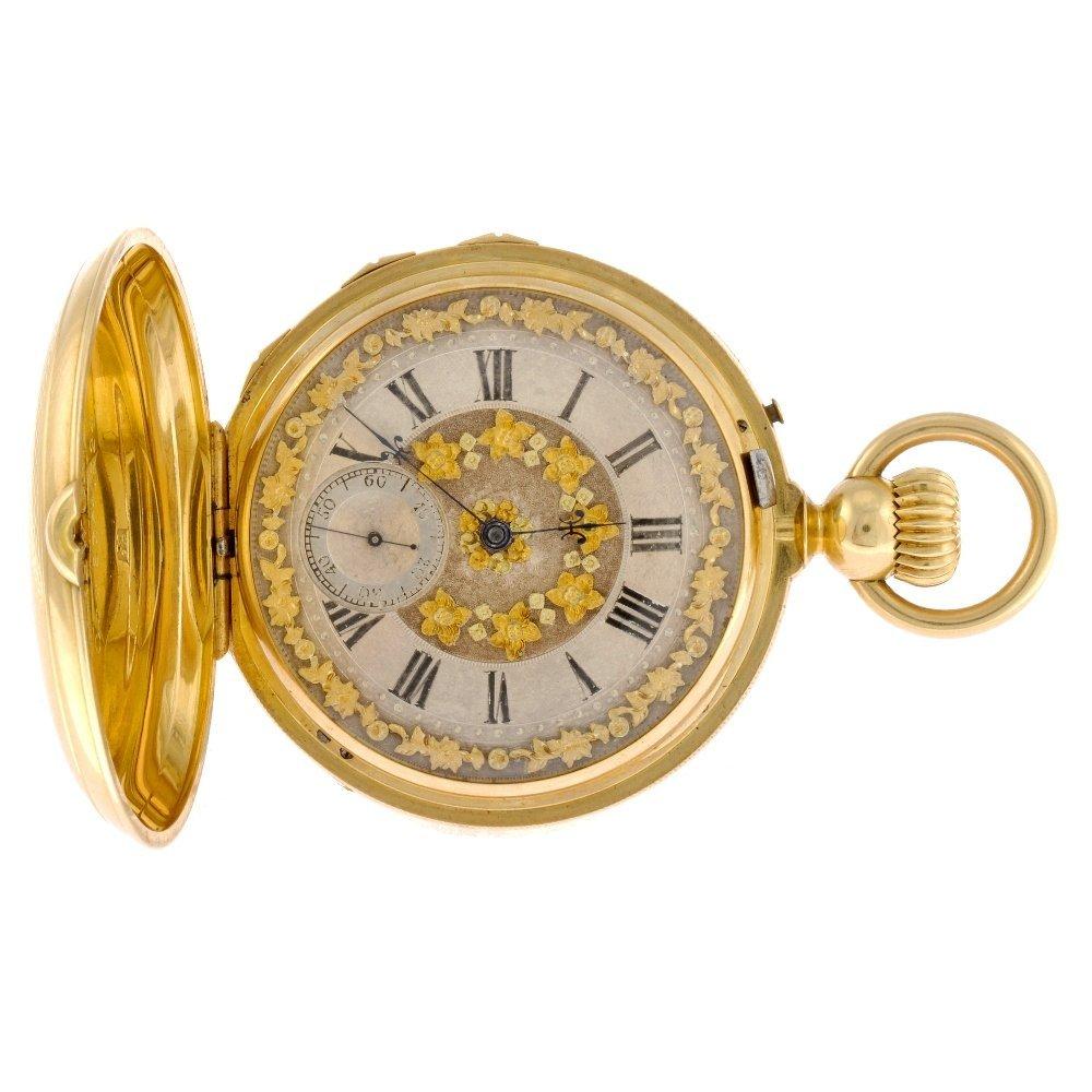 1: An 18k gold keyless wind full hunter grande sonnerie