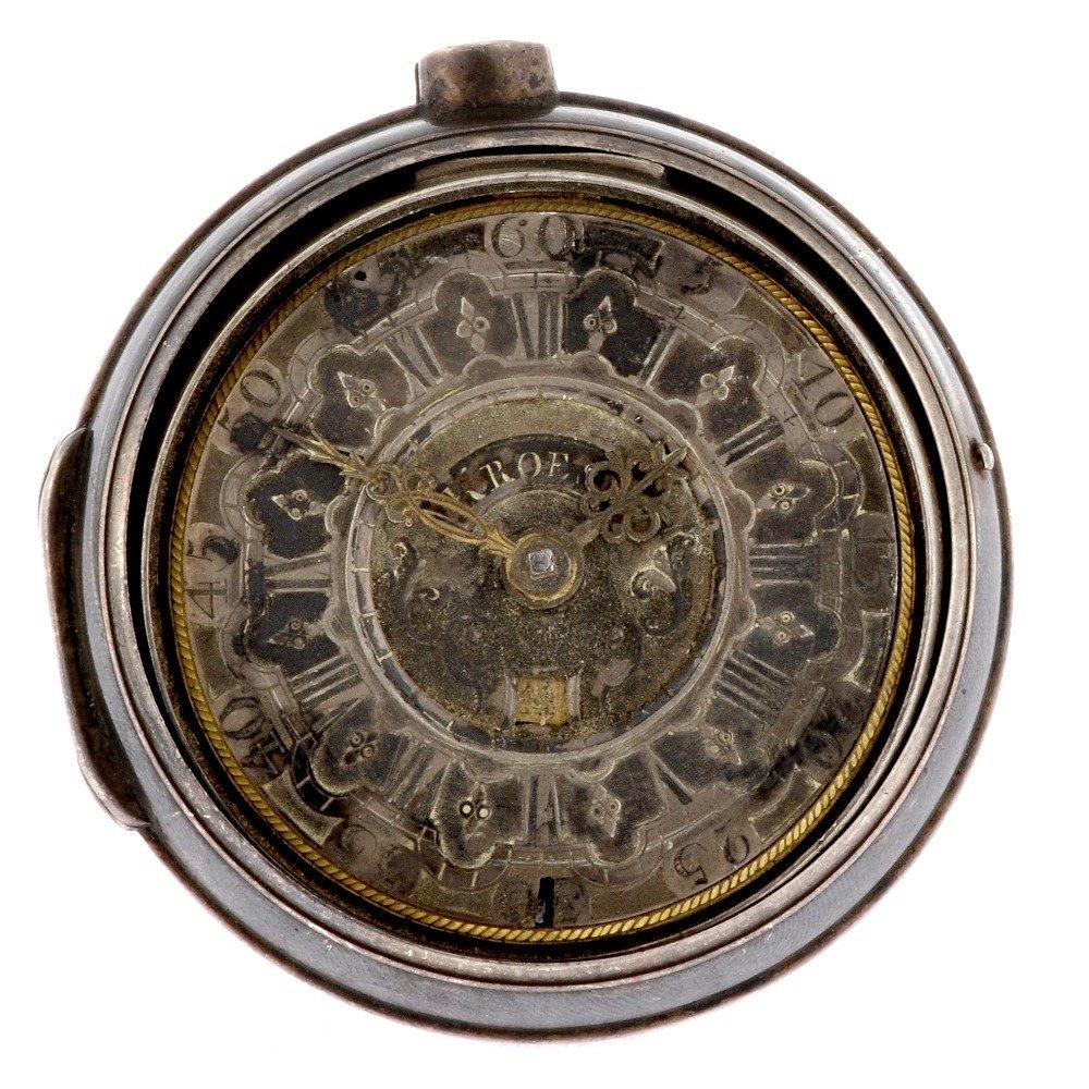 2: A silver key wind pair case pocket watch signed Kroe