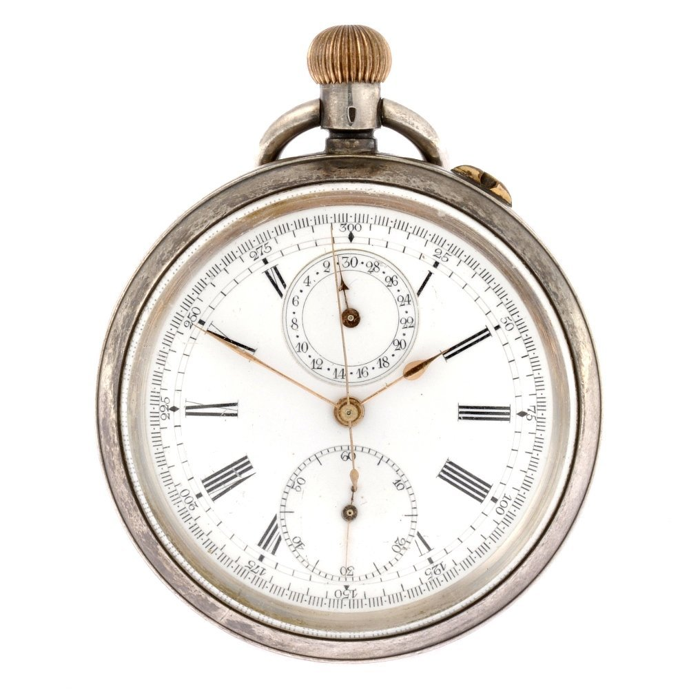 3: A silver keyless wind open face pocket chronograph.