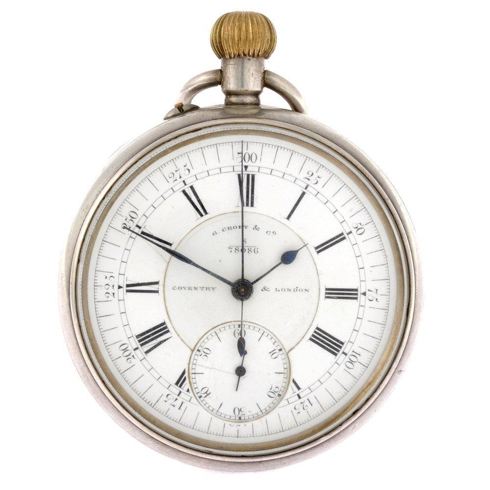 6: A 20th century silver keyless wind pocket chronograp