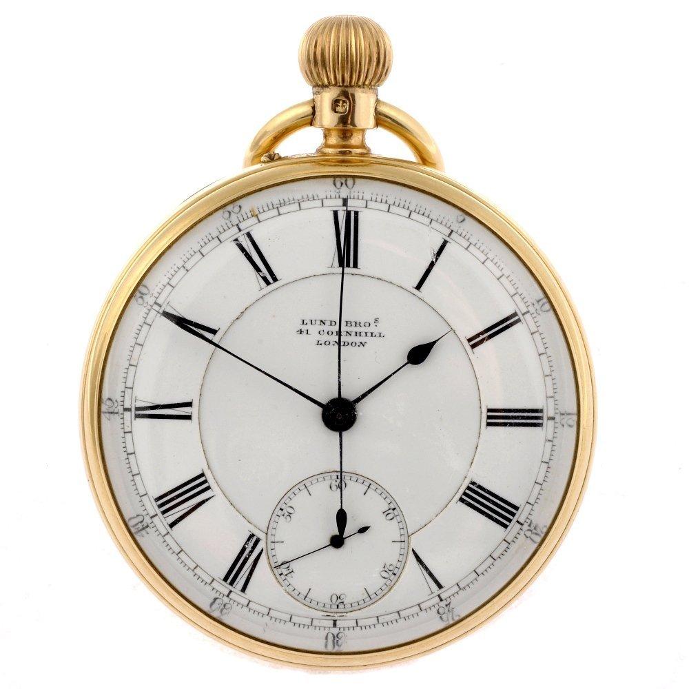 11: A Victorian 18ct gold keyless wind open face pocket