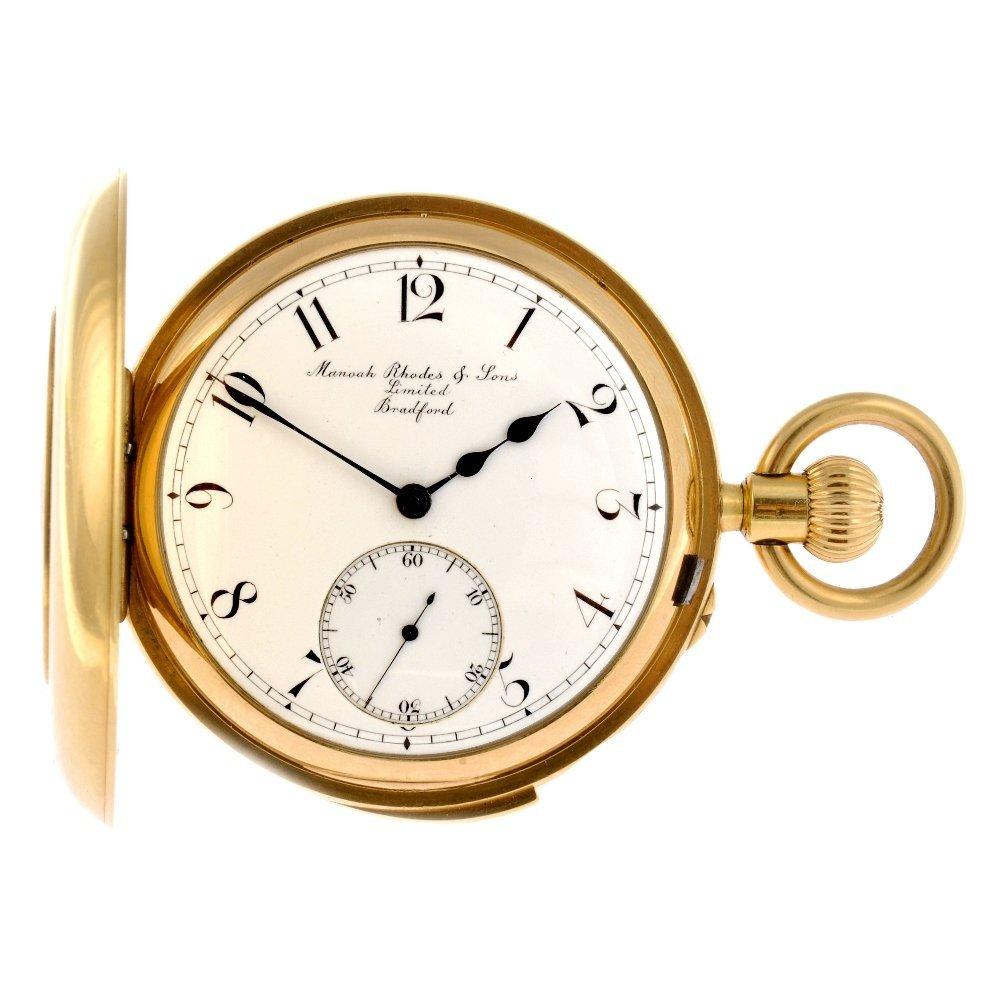 13: An 18ct gold keyless wind half hunter minute repeat