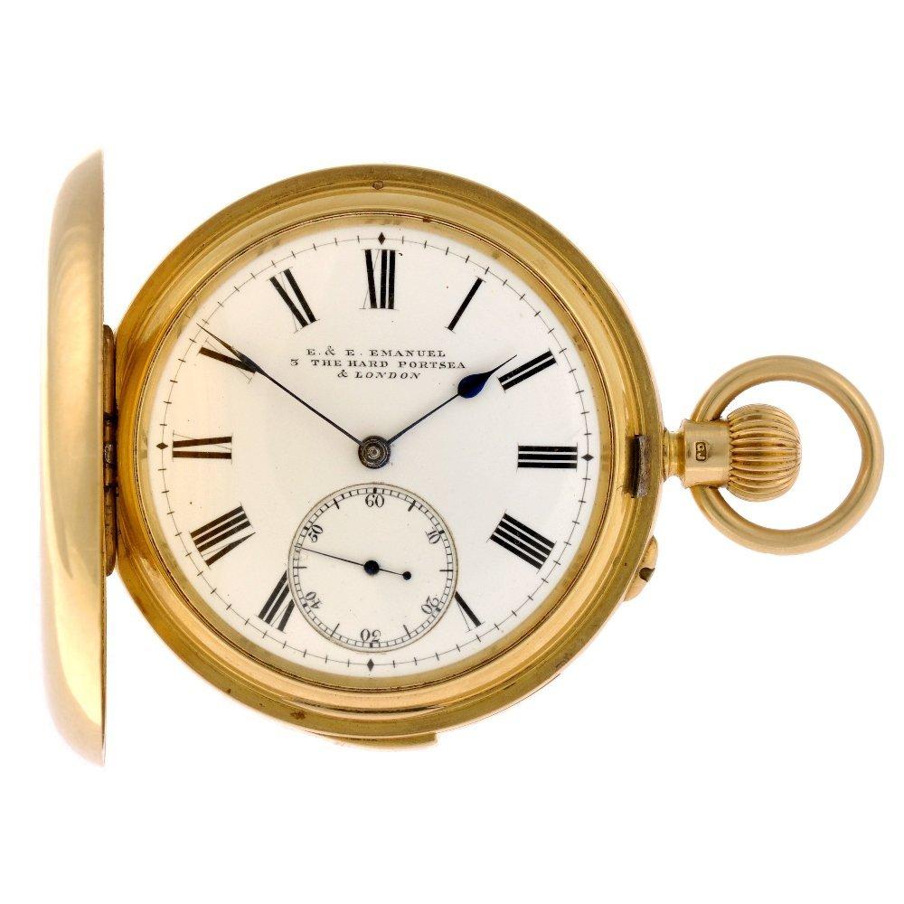 14: An 18ct gold keyless wind full hunter minute repeat