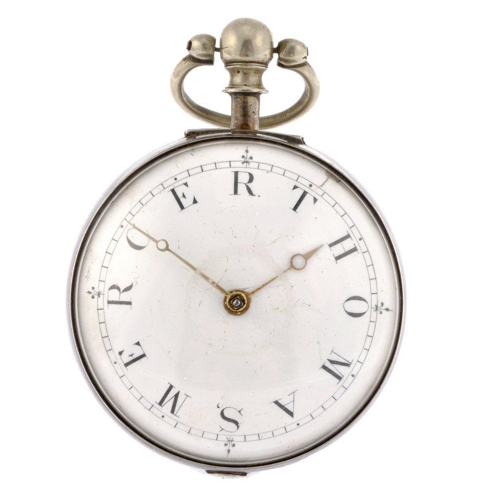 15: A silver key wind open face pair case pocket watch