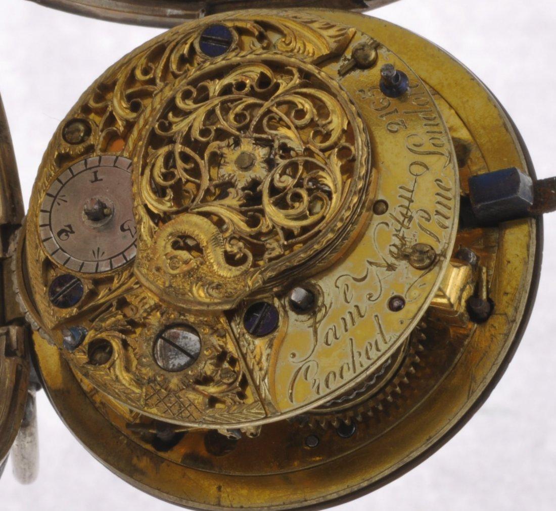 16: A George III silver key wind open face pocket watch - 4