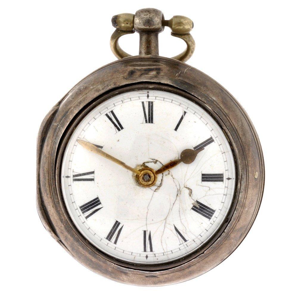 17: A George III silver key wind open face pair case po