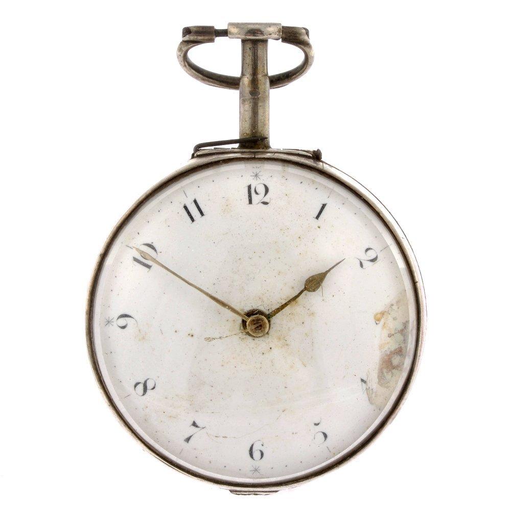 18: A George III silver key wind pair case pocket watch