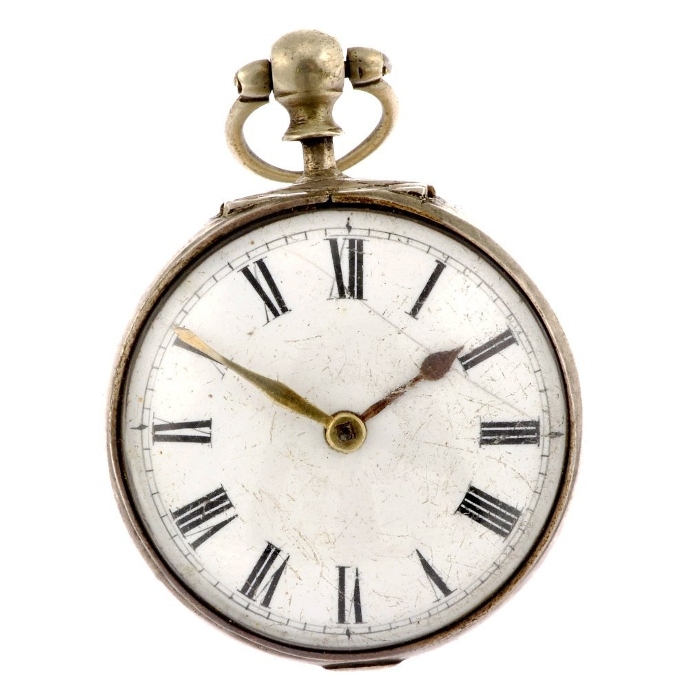 21: A George IV key wind pair case pocket watch.