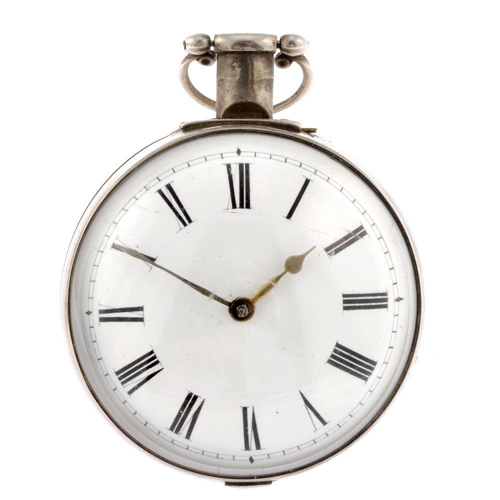 22: A silver key wind pair case pocket watch.