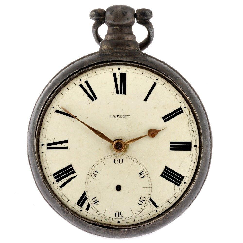 23: A George III silver key wind open face pair case po