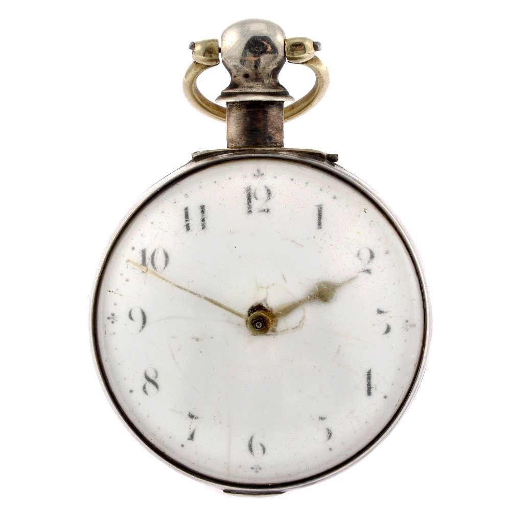24: A George III silver pair case pocket watch.