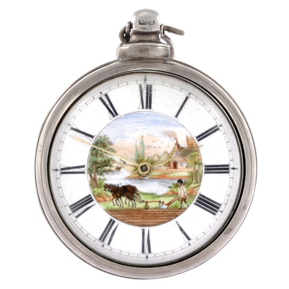 60: A Victorian silver key wind pair case pocket watch.