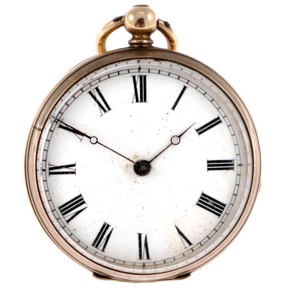 187: A bi-colour key wind open face pocket watch togeth