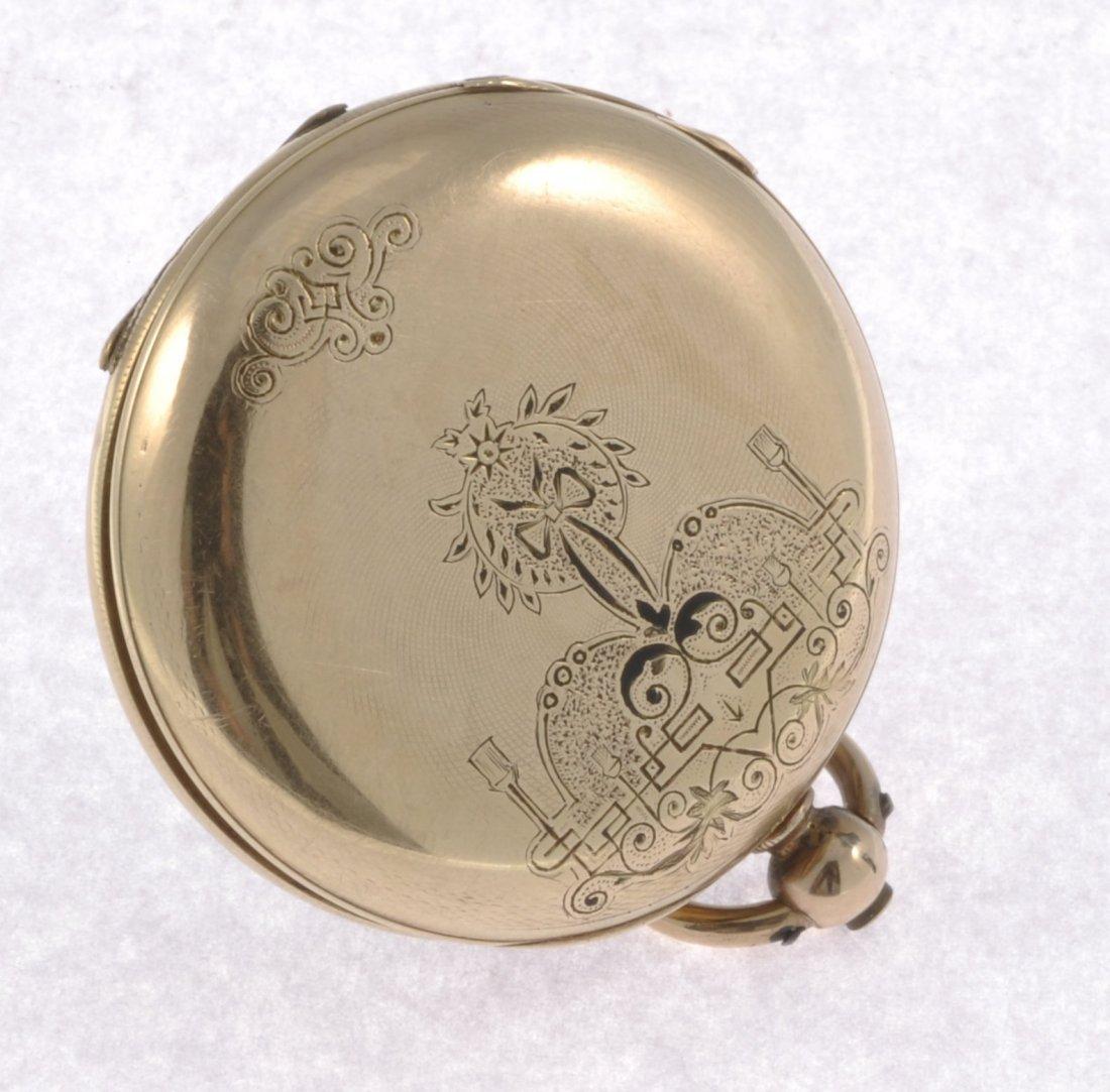 187: A bi-colour key wind open face pocket watch togeth - 2
