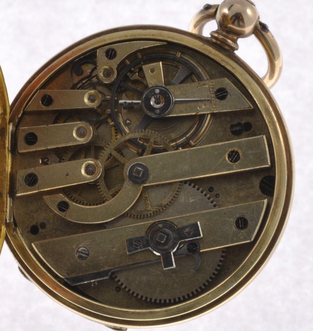187: A bi-colour key wind open face pocket watch togeth - 4