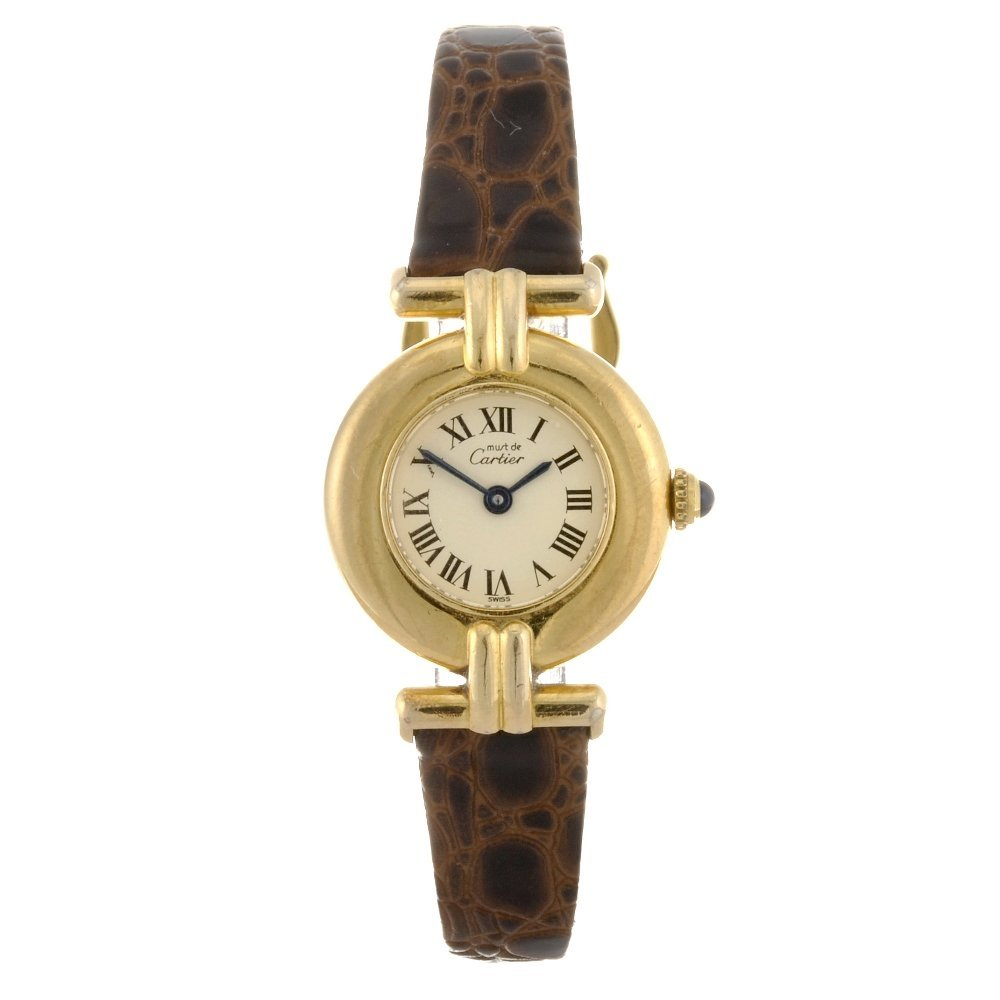 22: (2209) A gold plated quartz lady's Cartier Vermeil