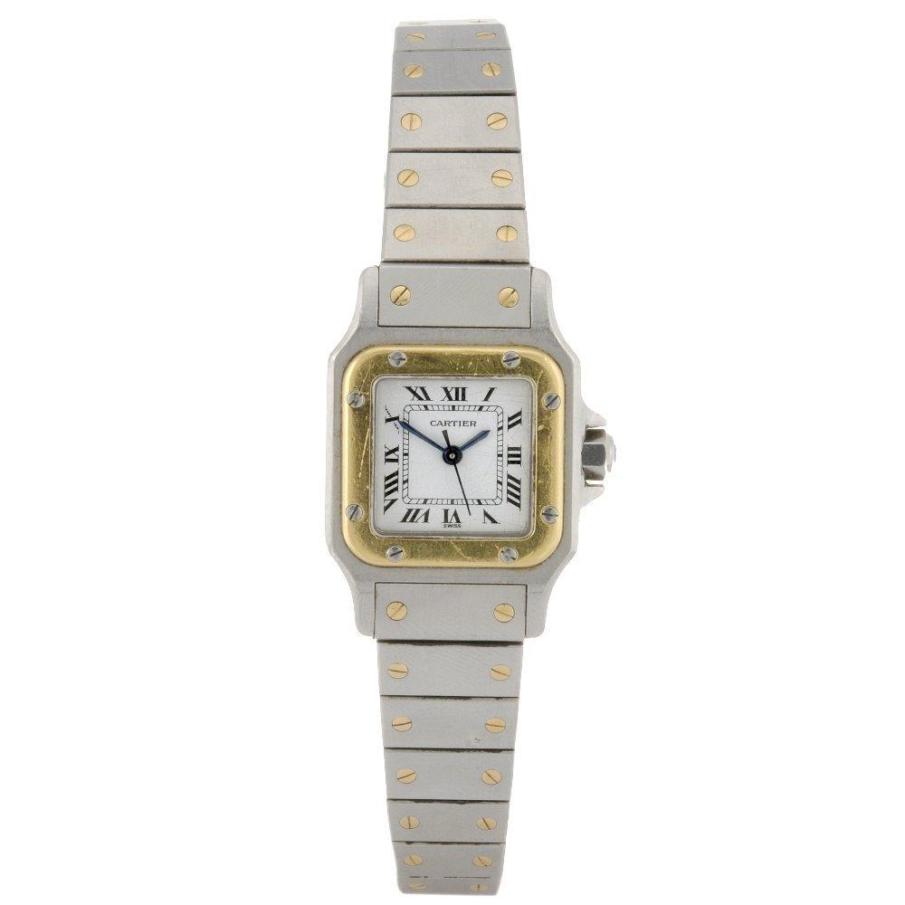 20: A bi-metal automatic lady's Cartier Santos bracelet