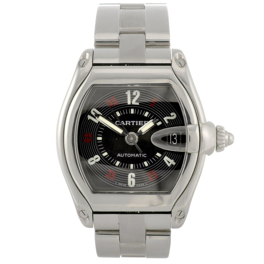 21: A stainless steel automatic Cartier Roadster bracel