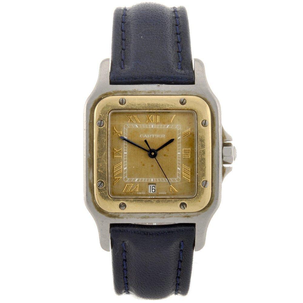 22: A bi-metal quartz Cartier Santos wrist watch.