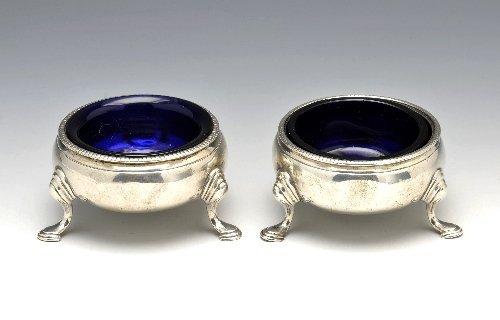 1: George III silver pair of open salts.
