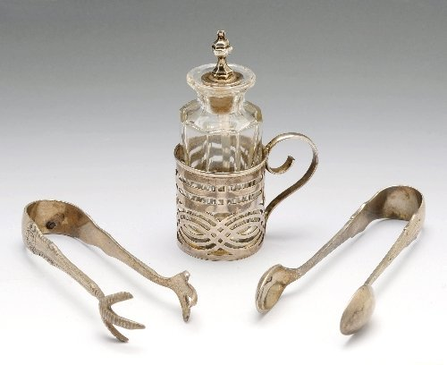 3: Victorian condiment bottle and two sugar nips.