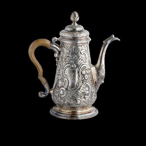 6: George II Scottish silver coffee pot.