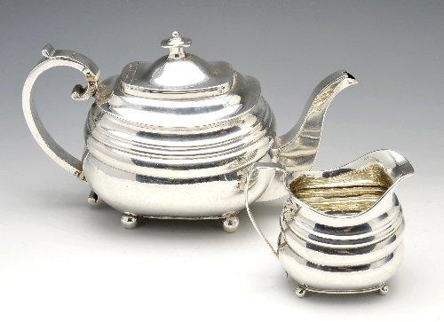 7: George III silver teapot & milk jug.