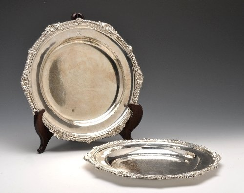 8: Early Georgian silver pair of circular plates.