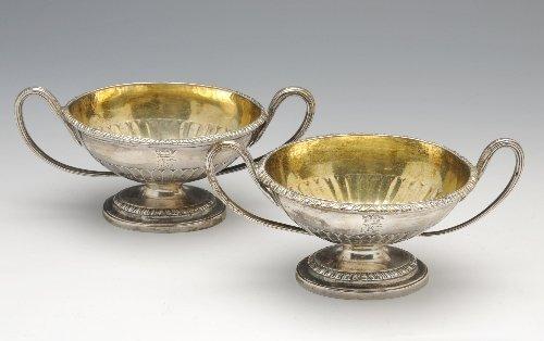 11: George III silver pair of open salts.