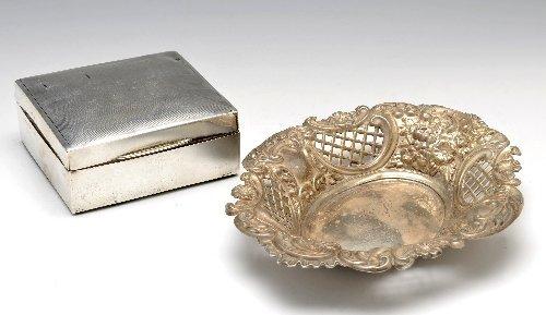 14: Victorian silver bonbon dish & cigarette box.