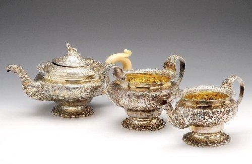 19: George IV silver composite three piece silver tea s