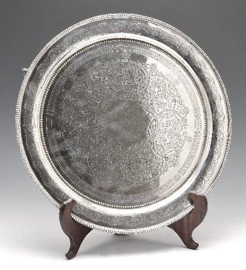21: Victorian silver circular salver.