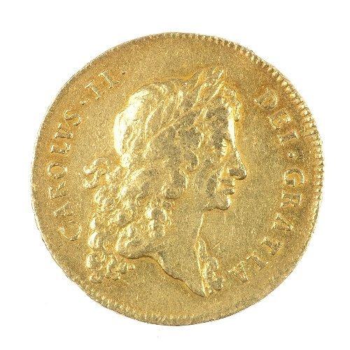 1: Charles II, gold Five-Guineas 1677.