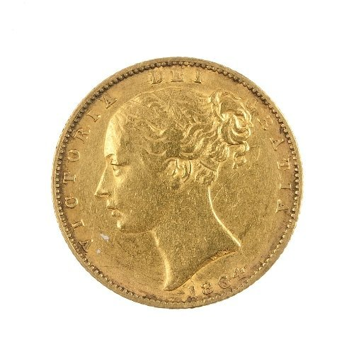 18: Victoria, Sovereign 1864, rev. shield.