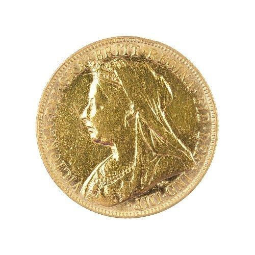 22: Victorian Sovereign 1898, veiled head.