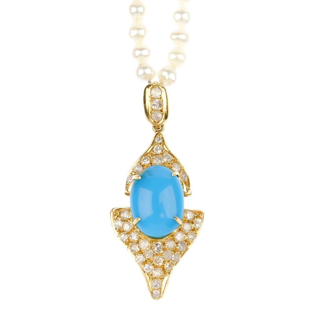 4: (117553-3-A) A diamond and turquoise pendant with fr