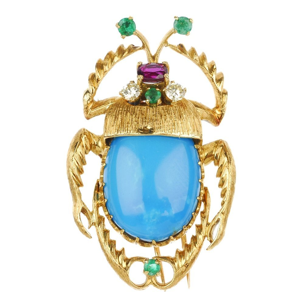 5: (117553-4-A) A turquoise and gem-set scarab beetle b