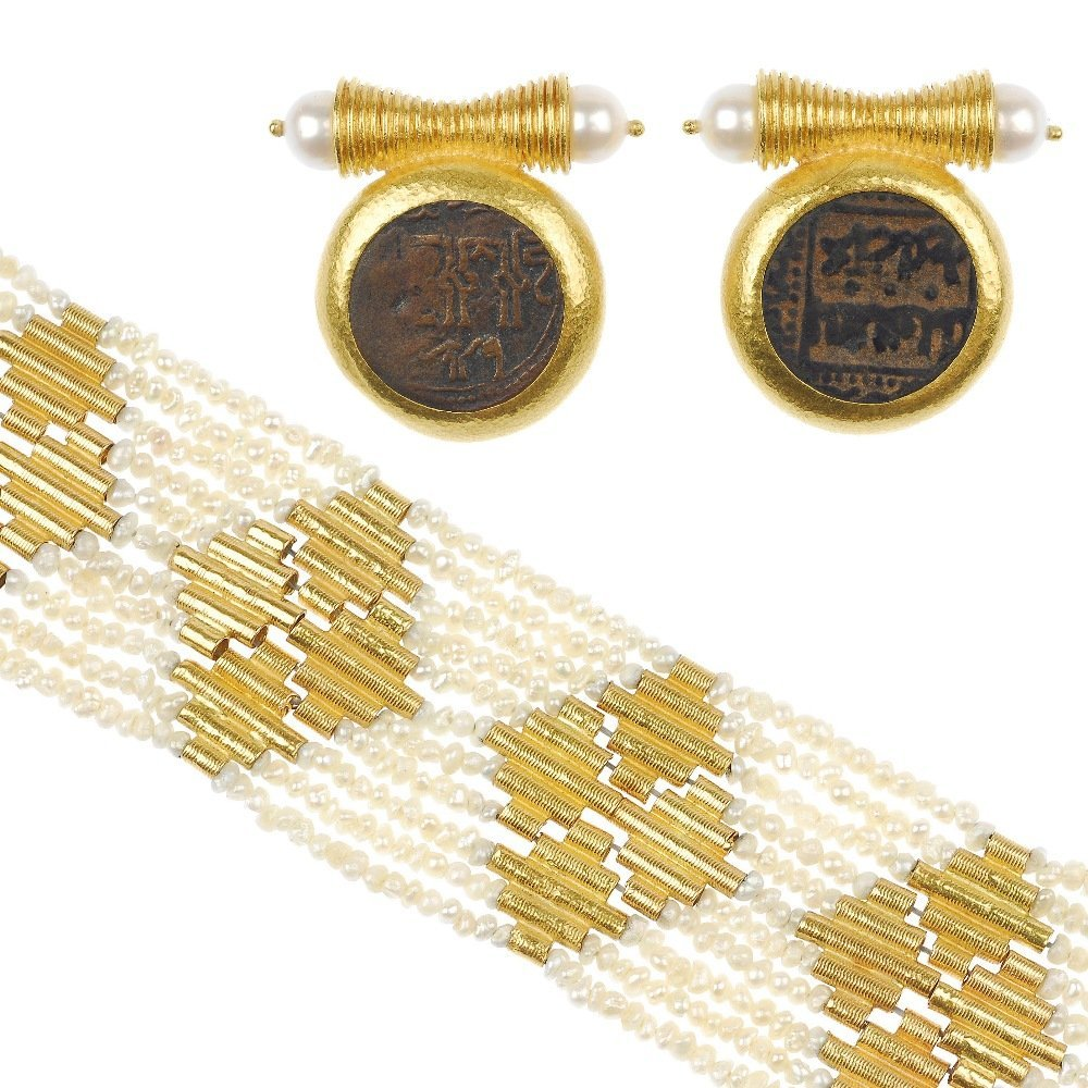 9: (117553-8-9-A)  A pair of pearl and coin ear clips w